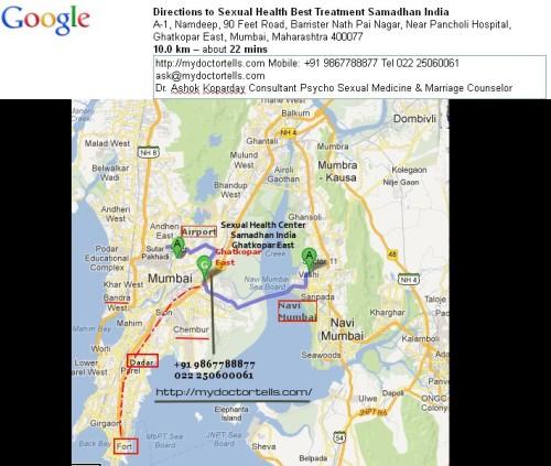 image of map of premier world class sexual health center best treatment Samadhan India, Ghatkopar East, Mumbai